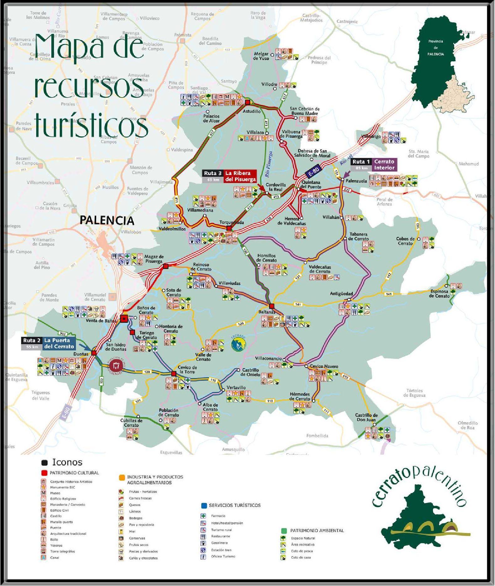 mapa turistico cerrato palentino